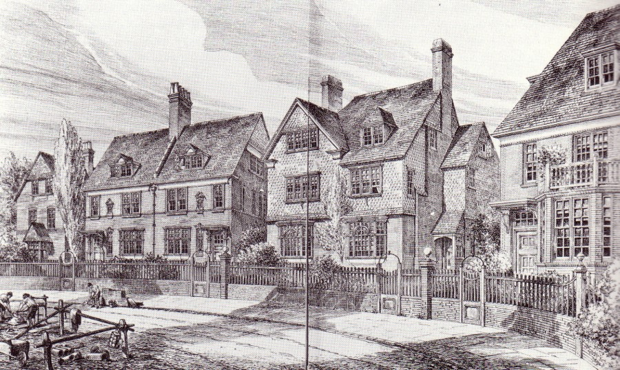 Bedford Park. Shaw house types arranged on a typical avenue (Building News, 21 December, 1887)