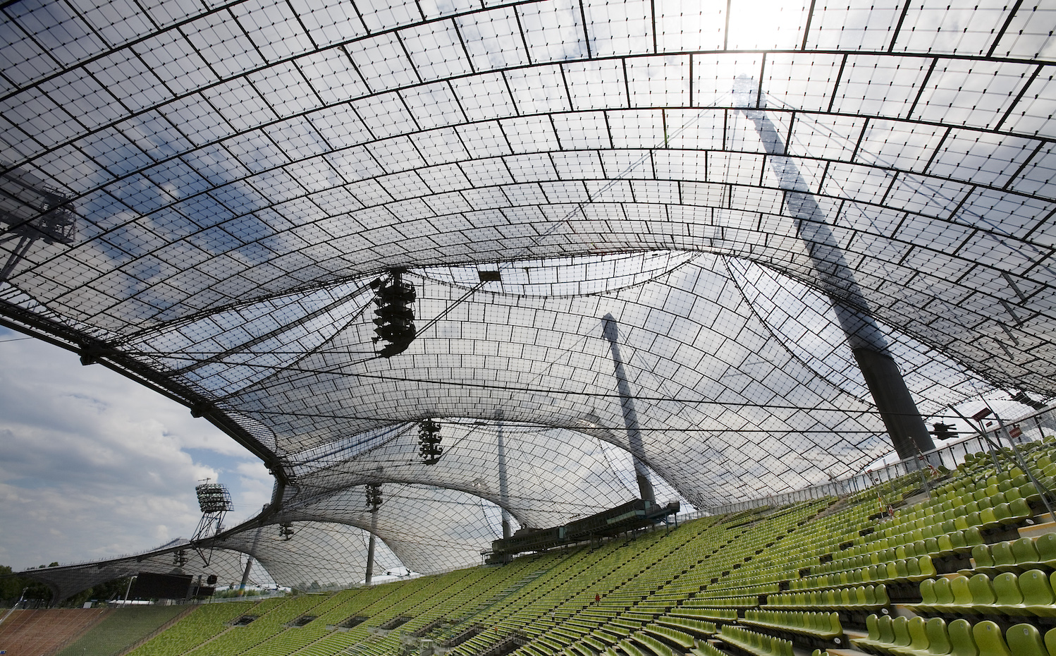 Architecture Frei Otto Olympic Stadium Park Germany steel brace braced pulley arena infield seating spectator spectators stands grandstand detail structure mesh stretch stretched  webbing webbed woven tension tense tensed structure structures buildings ro